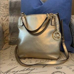 Gold leather Michael Kors shoulder bag
